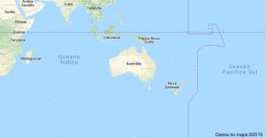 Localização da Austrália com mapa.