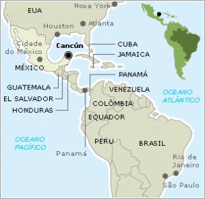 Mapa ilustrativo da localização de Cancún no México, que tem uma paisagem diversificada.