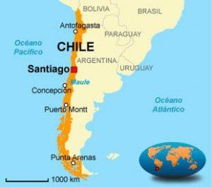 Chile - Onde fica - Mapa de localização do Chile na América do Sul