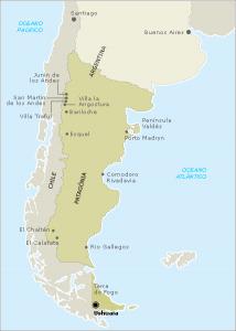 Mapa de localização da Patagônia na Argentina.