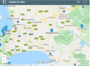 Mapa de Localização da Cidade do Cabo - Stellenbosch - Franschhoek - África do Sul